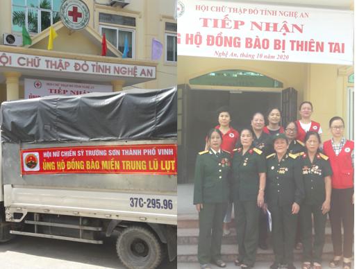 Hội nữ chiến sỹ Trường Sơn thành phố Vinh trao tặng hàng cứu trợ ủng hộ đồng bào miền Trung